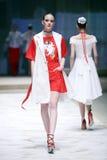 Cro μια επίδειξη μόδας αχθοφόρων: ΔΙΔΥΜΑ από Begovic ι Stimac, Ζάγκρεμπ, Γ Στοκ Φωτογραφία