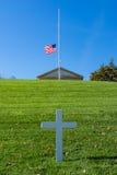 Cro för vit för amerikanska flaggan för Arlington nationell kyrkogård JFK minnes- Arkivfoto