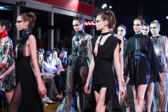 Cro a Porter Fashion Show :Jamoi, Zagreb, Croatia. ZAGREB, CROATIA - APRIL 5, 2016 : Fashion model wearing clothes designed by Jamoi on the Cro a Porter fashion Royalty Free Stock Image