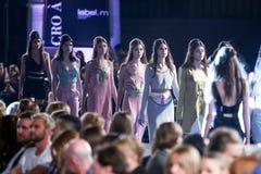 Cro a Porter Fashion Show : Mandval, Zagreb, Croatia. ZAGREB, CROATIA - APRIL 5, 2016 : Fashion model wearing clothes designed by Mandval, designers Vjeko Mandic Stock Images