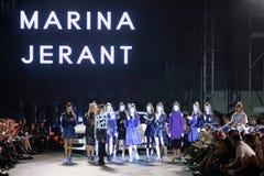 Cro a Porter Fashion Show : Marina Jerant, Zagreb, Croatia. ZAGREB, CROATIA - APRIL 5, 2016 : Fashion model wearing clothes designed by Lukabu by Marina Jerant Stock Images