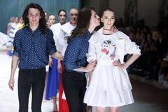 Cro a Porter Fashion Show : TWINS by Begovic i Stimac, Zagreb, C. ZAGREB,CROATIA - APRIL 21,2016 : Fashion model wearing clothes designed by TWINS by Begovic i Royalty Free Stock Photos
