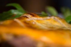 Croûte de pâtisserie sur la tourte à la viande de boeuf et aux rognons photographie stock