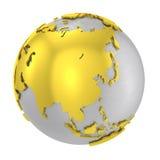 Croûte terrestre en acier balayée d'or du globe 3D Images libres de droits