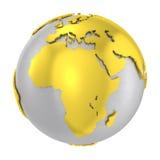 Croûte terrestre en acier balayée d'or du globe 3D Photo stock