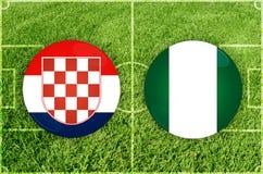 Croacia contra partido de fútbol de Nigeria stock de ilustración