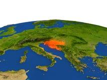 Croacia en rojo de la órbita ilustración del vector