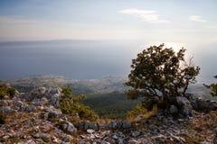 Croacia - parque de naturaleza de Biokovo y mar adriático en la puesta del sol, Sveti Jure imágenes de archivo libres de regalías