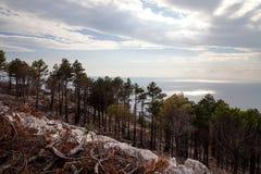 Croacia - parque de naturaleza de Biokovo y mar adriático en la puesta del sol, Sveti Jure fotos de archivo