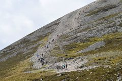 Croagh Patrick Ireland. Path to the top of Croagh Patrick mountain in Ireland Stock Photography