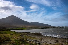 Croagh Patrick Stands above Clew Bay, Ireland stock photography