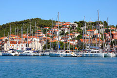 Croatia. Trogir in Dalmatia. Motorboat marina and Ciovo island Royalty Free Stock Photos