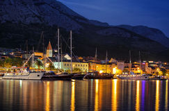 Croatia. Photo of Croatia, Makarska riviera at night Royalty Free Stock Images