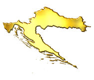 Croatia 3d Golden Map Royalty Free Stock Image