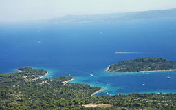 Croatia: Aerial view of Dalmatian coastline and is Royalty Free Stock Photo