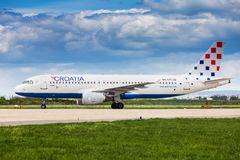 Croatia Airlines Airbus after landing in Zagreb Royalty Free Stock Image