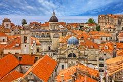 Croatia Ancient town Dubrovnik sunset panoramic view. Stock Photos