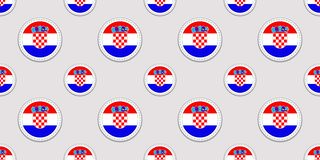 Croatia background. Croatian flag seamless pattern. Vector round icons. Geometric circle symbols. Texture for language courses, sp vector illustration