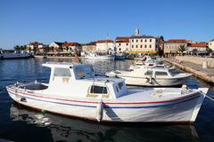 Biograd na Moru, Croatia. Croatia - Biograd na Moru in Dalmatia. Motorboat marina and Old Town Stock Images