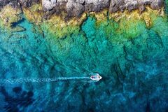 Free Croatia. Boat At The Sea Surface. Aerial View Of  Floating Boat On Blue Adriatic Sea At Sunny Day. Royalty Free Stock Photo - 179903345