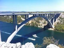 Croatia bridge. With ships on the water Stock Photos