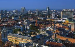 Part of Zagreb roofs in sunrise Stock Image