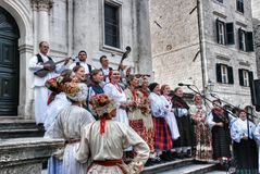 Street festivals and choral singing at the fair in Dubrovnik Stock Photos