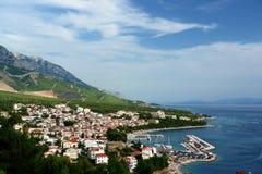 Croatia, cidade portuária, vista aérea. Fotografia de Stock Royalty Free