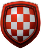 Croatia Coat of Arms Pattern on a Red Framed Glossy Shield. Stock Images