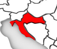 Croatia Country Abstract 3D Map Eastern Europe. An abstract 3d map of Europe and the central or eastern region with Croatia highlighted in red and surrounding Royalty Free Stock Images
