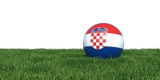 Croatia Croatian flag soccer ball lying in grass world cup 2018. Isolated on white background. 3D Rendering, Illustration Stock Image