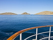 Croatia, cruising along Kornati islands. Ship cruises to Kornati archipelago. Most of the islands of the Kornati archipelago are deserted, but some small houses Stock Images