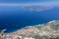 Croatia, Dalmatia, Adriatic Sea panoramic landscape - Makarska r Royalty Free Stock Images