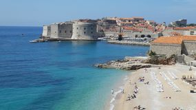 Croatia Dubrovnik hotel beach in the town royalty free stock photos