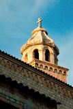 Croatia, Dubrovnik, one of the city church towers in evening sun. Blue and orange Stock Photo