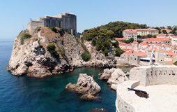 Croatia - Dubrovnik West Harbor from the Old Town walls Stock Photo
