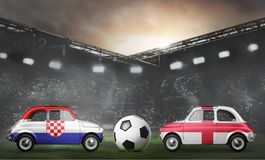 Croatia and England cars on football stadium Royalty Free Stock Photos