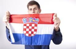 Croatia fan. Man holding flag of Croatia Royalty Free Stock Photography