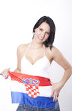 Croatia fan. Girl showing flag of Croatia Royalty Free Stock Photos