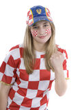 Croatia fan. With face painting of the national flag Stock Photos