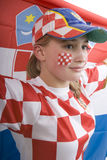Croatia fan. With face painting of the national flag Royalty Free Stock Photo
