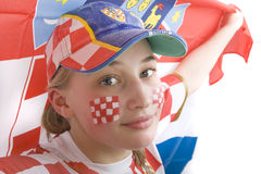 Croatia fan. With face painting of the national flag Stock Image