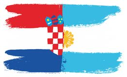 Croatia Flag & Argentina Flag Vector Hand Painted with Rounded Brush. This image is a vector illustration and can be scaled to any size without loss of Stock Photos