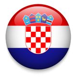 CROATIA flag button. CROATIA flag on round glassy-effect button with drop shadow. Vector royalty free illustration