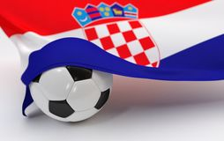 Croatia flag with championship soccer ball Stock Photo