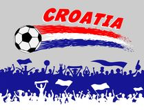 Croatia flag colors with soccer ball and Croatian supporters sil. Houettes. All the objects, brush strokes and silhouettes are in different layers and the text Royalty Free Stock Photography