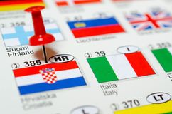 Croatia flag. With push pin and country prefix number. Italy flag Royalty Free Stock Photography