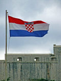 Croatia flag in Dubrovnik. Croatia flag in the sky royalty free stock images