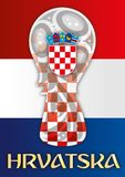 Croatia flag and world cup symbol, vector illustration. Croatia flag finalist, Russia 2018, vector illustration, coat of arms and name Hrvatska Stock Photo