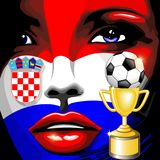 Croatia Flag Girl Portrait Champions World Cup Stock Photography